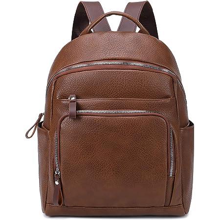 Myhozee Damen Rucksack Elegant PU Leder Rucksackhandtasche Casual Wasserdicht Schultasche Daypack Backpack Rucksäcke, Kaffee