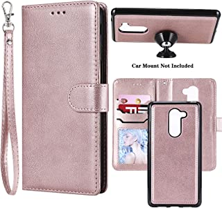 Ranyi Huawei Honor 6X Case, Detachable Wallet Case [Magnetic Hard Cover Fit Car Mount] Credit Card Holder Slots 2 in 1 Leather Flip Folio Wallet Strap Case for Huawei Honor 6X (Rose Gold)