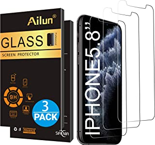 Ailun for Apple iPhone 11 Pro/iPhone Xs/iPhone X Screen Protector 3 Pack 5.8Inch Display Tempered Glass 2.5D Edge Advanced HD Clarity Work Most Case