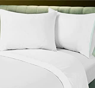 Union Hospitality Flat Sheet White Bedding 180 Thread Count Percale Hotel Linen (13, Queen)