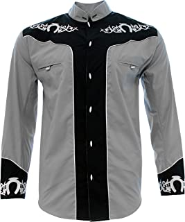 El General Mens Charro Shirt Camisa Charra Western Wear Color Gray Long Sleeve