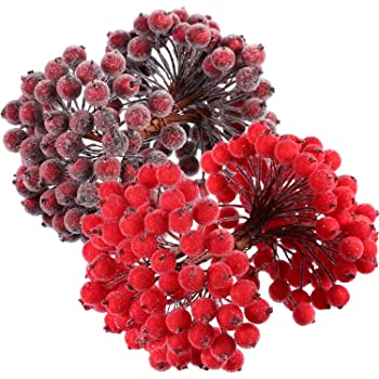 Frosted Artificial Berries 12mm Bright Red Box of 108 for Christmas