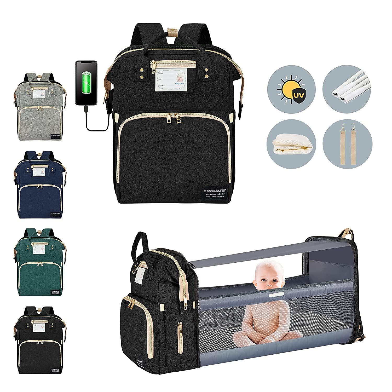 Diaper Bag Backpack Baby Diaper Bag with Changing Station for Baby Girls Boys Waterproof Portable Travel Back Pack Foldable Baby Changing Pad with USB Port & Stroller Straps, Large Capacity, Black