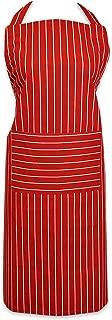 DII 100% Cotton, Professional Stripe Bib Chef Apron, Unisex Restaurant Kitchen Apron, Adjustable Neck Strap & Waist Ties, Machine Washable, Front Pocket, Perfect for Cooking, Baking, BBQ - Tango Red