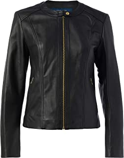 Cole Haan womens Cole Haan Collarless Jacket Leather Jacket