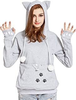 VOGRYE Womens Hoodies Pet Holder Cat Dog Kangaroo Pouch Carriers Pullover Sweatshirts Hoodies (7 Days delivery or Refund)