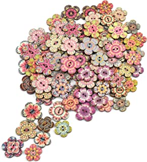 Changrongsheng 100Pcs Boutons en Bois, 20mm 24mm Peinture de Fleurs Boutons, Rétro Boutons en Bois Mixte Taille en Bois Na...