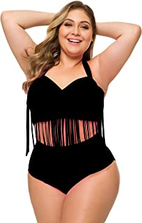 Plus Size Retro High Waist Braided Fringe Top Bikini Swimwear for Women