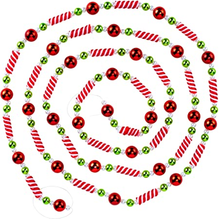 CANDY CANE PEPPERMINT Round Christmas Glass Beads 1 strands of 7 7 7