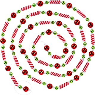 9 Foot Plastic Candy Bead Peppermint Ball Christmas Garland | Shinny Colorful Christmas Tree Garland Perfect For Retro Can...