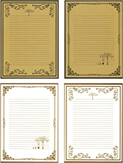 ورق قرطاسية للكتابة 80 من IMagicoo - مجموعة ورق كتابة الحروف بتصميم كلاسيكي كلاسيكي (أبيض + كاكي)