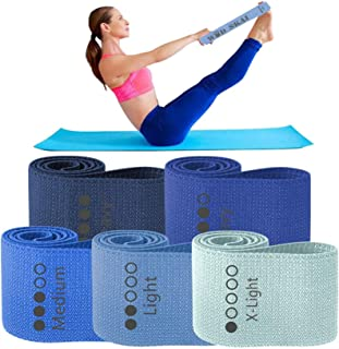 WODSKAI Resistance Exercise Fabric Bands, Non-Slip Booty Workout Bands for Legs & Butt and Glutes, 5 Levels Fitness Traini...