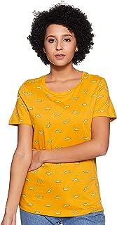 Honey by Pantaloons Women's Tribal Regular fit T-Shirt (110053632_Mustard M)