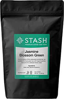 Stash Tea Jasmine Blossom Loose Leaf Tea 16 Ounce Pouch Loose Leaf Premium Green Tea for Use with Tea Infusers Tea Strainers or Teapots, Drink Hot or Iced, Sweetened or Plain
