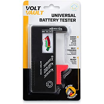 Volt Vault Battery Tester Checker – Universal Battery Tester for AAA, AA, C, D, 9V and Small Batteries, Battery Life Level Testers with Voltage Power Meter