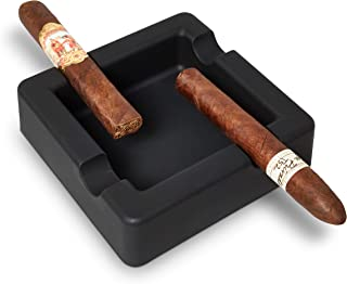 FairleeCove Cigar Ashtray - Large Gauge Cigars - Wide Shelf - Deep Bowl - Unbreakable Matte Black Silicone - Designed for Cigar Smokers - Outdoor Cigar Ashtrays for Patio Pool Boat