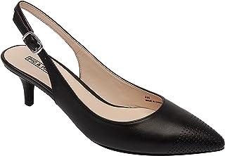 Hazel   Women's Low Heel Perforated Cap Toe Comfortable Slingback Pump