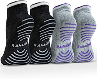 Rahabsox Best Non Slip Skid Yoga Pilates Socks with Grips Cotton for Women