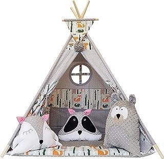 Izabell Barn lektält tepee tipi set för barn inomhus utomhus leksak tält indiantipi med fönster tipi med tillbehör tipitält