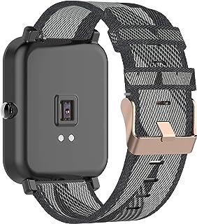 Tencloud Band Compatibel met Garmin Venu Sq/Venu Strap, Lichtgewicht Streep Nylon Stof Geweven Bands Vervanging Armband Po...