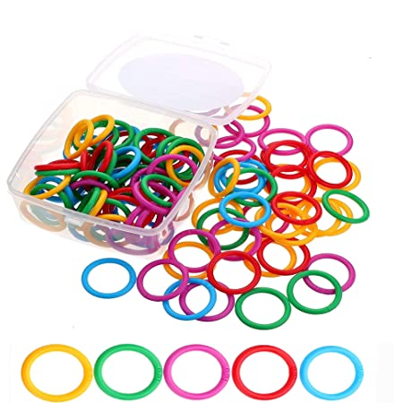 ninahouse Box Packed Plastic Loose- Leaf Rings Multi-Color Binder Rings .Flexible Plastic Book Rings for Scrapbook Notebook Keychain (Packed 100piece/5colors)