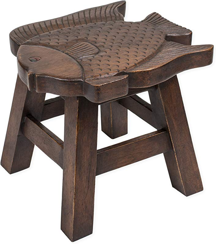 Fish Stain Design Hand Carved Acacia Hardwood Decorative Short Stool