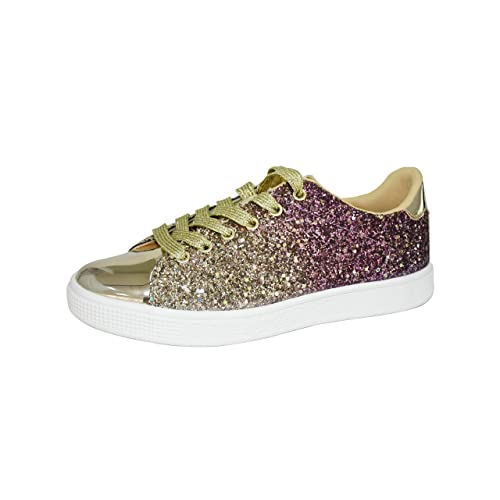 ca9040668239 Lucky Step Glitter Sneakers Lace up | Fashion Sneakers | Sparkly Shoes for  Women