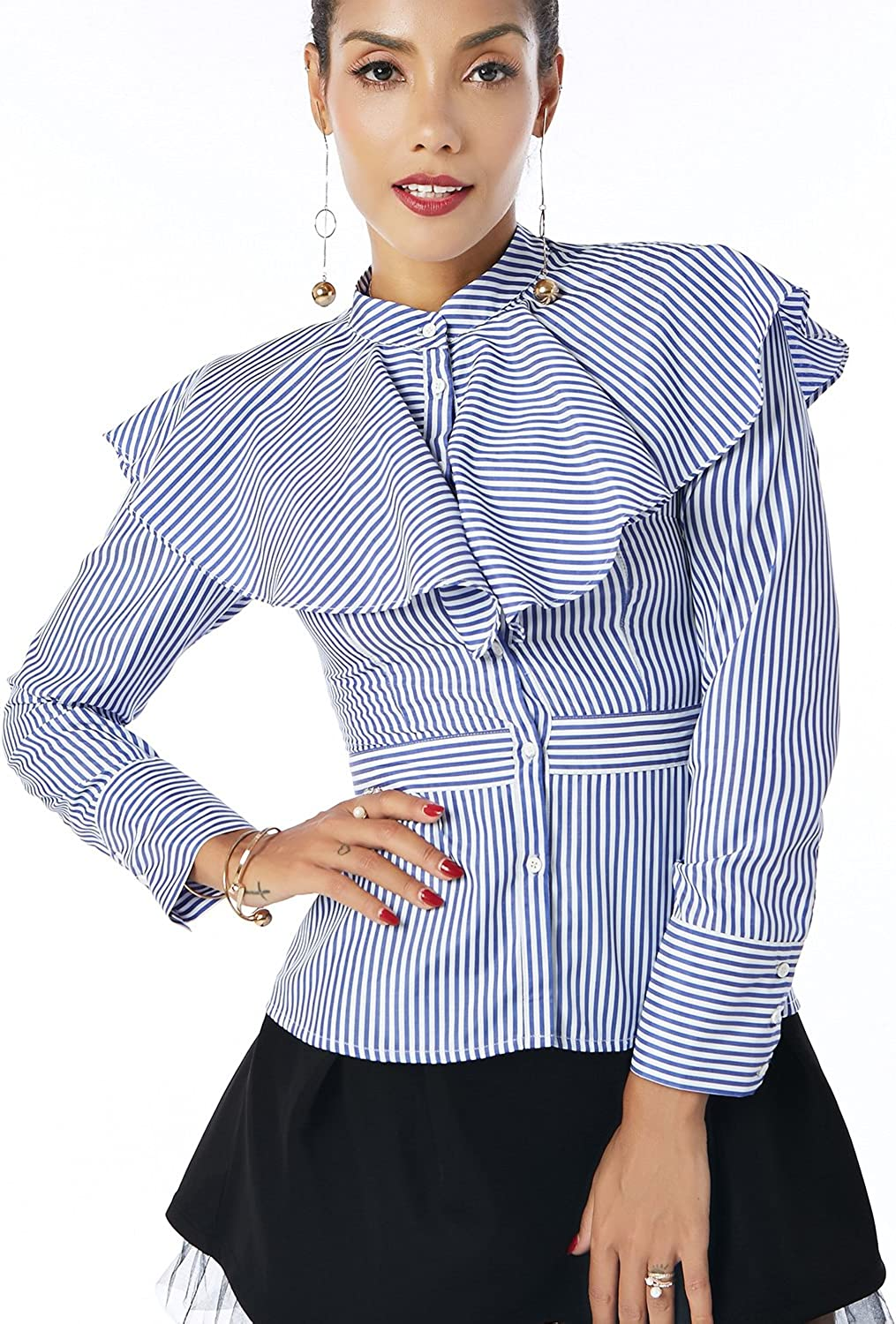 Beauty Garden Women Striped Button Ruffles Bow Tie Long Sleeve Tops Blouses