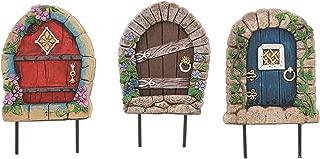 Distinctive Designs Set of 3 Assorted Fairy Garden Doors in Red, Brown, Blue, 5.5