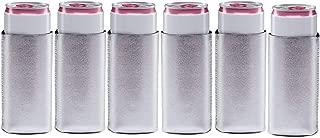 Metallic Silver Slim Can Coolers- Neoprene- 6 pack