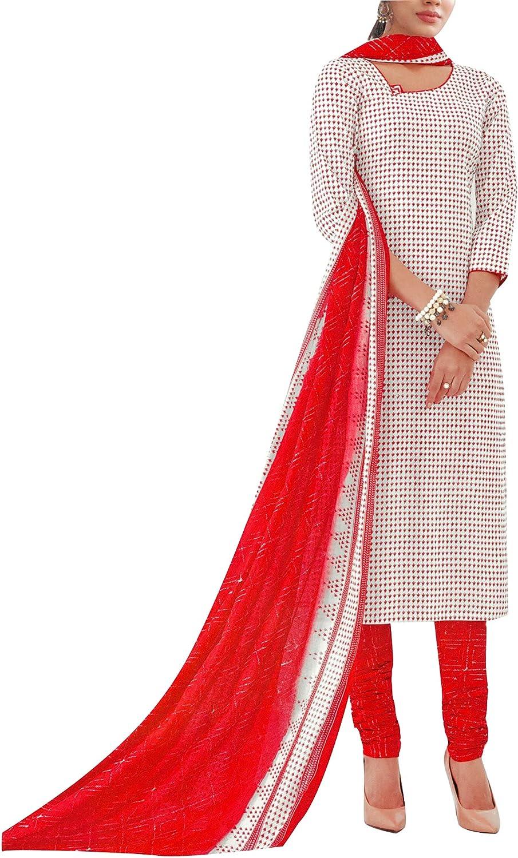 ladyline Womens Casual Printed Salwar Kameez with Chiffon Dupatta Ready to Wear Indian Dress