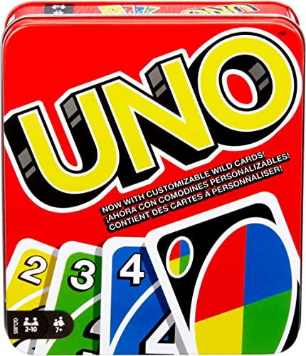 Mattel Games UNO: Family Card Game, with 112 Cards in a Sturdy Storage Tin, Travel-Friendly, Makes a Great Gift for 7...