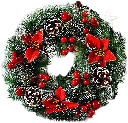 high quality OPTIMISTIC Winter Snowflake Christmas Wreath, Artificial Pine Cone Wreath with Berry,Frosted Christmas Wreath for Front Door, Shop Windows Fireplaces Walls New Years Decor, 12 Inch 2021 online sale Spruce Garland (C) outlet online sale