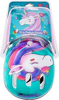 Kit de Proteção Atrio Infantil Unicorn com Capacete Cotoveleiras Joelheiras e Luva Tam. Único Indicado para +3 Anos Rosa/A...