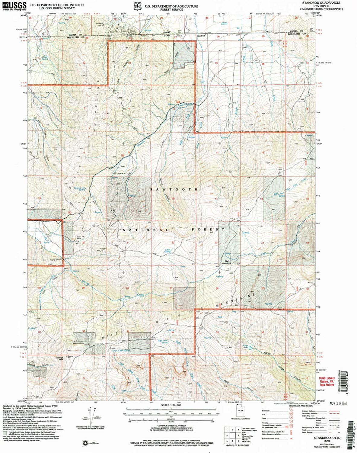 Standrod UT topo map, 1 24000 Scale, 7.5 X 7.5 Minute, Historical, 2001, Updated 2006, 26.8 x 22 in