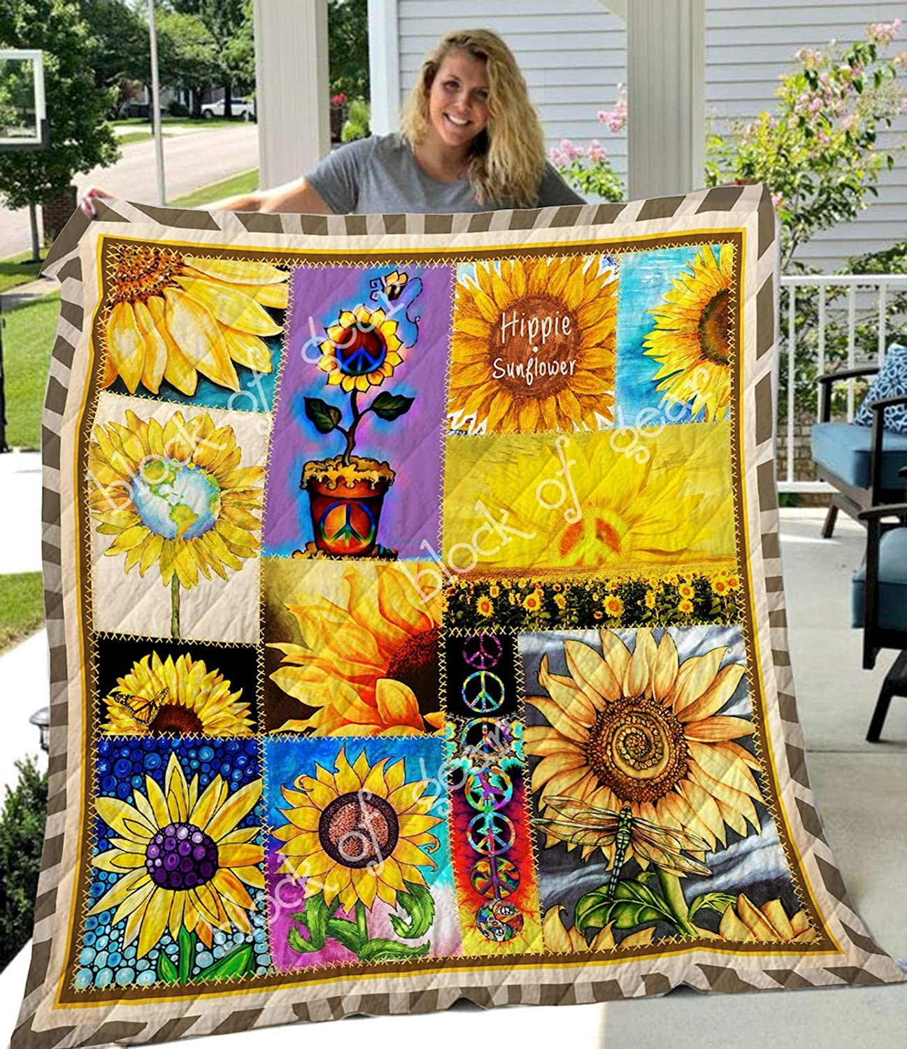 Hippie Sunflower Quilt TH690, Queen All-Season Quilts Comforters with Reversible Cotton King Queen Twin Size - Best Decorative Quilts-Unique Quilted for Gifts