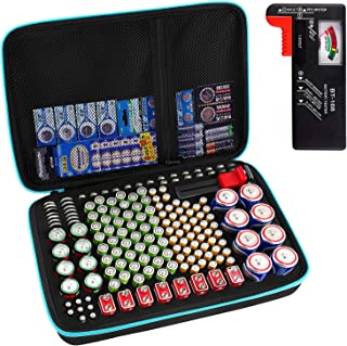 Battery Organizer Storage Box with Battery Tester (BT168), Case Bag Holder fits for 152 Batteries AA AAA AAAA 9V C D Lithi...