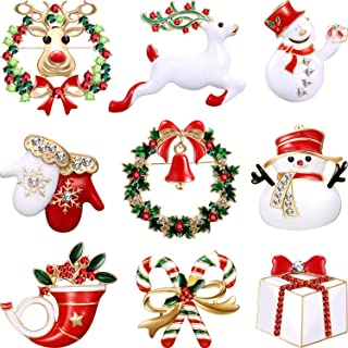 Hicarer 9 Pieces Christmas Brooch Pin Set with Rhinestone Crystal Christmas Decorations