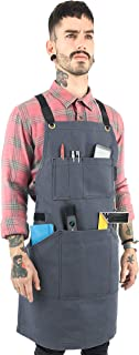 Under NY Sky Essential Gray Apron – Heavy Duty Waxed Canvas, Cross-Back, Leather Reinforcement – Adjustable for Men, Women, Pro Mechanic, Welding, Woodwork, Blacksmith, Server Aprons