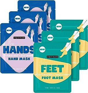 Freeman Beauty Flirty Feet + Silky Hands Sheet Masks, Foot and Hand Care for Dry Skin, 6pk sachets