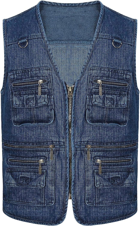 Spanye Men's Outdoor Vest Multi-Pocket Casual Cotton Denim Jacket Work Travel Photo Fishing Vests
