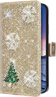 Uposao Compatible with Samsung Galaxy S6 Edge Snowflake Christmas Tree Mobile Phone Case Bling Glitter Rhinestone Diamond ...