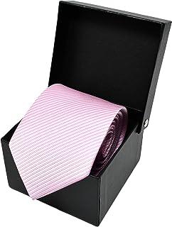 0b9d907611db0 Oxford Collection Cravate Homme à rayures Rose - 100% en Soie - Classique,  Elégante