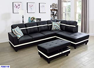 Beverly Fine Funiture Sectional Sofa Set, Black with White Stripe