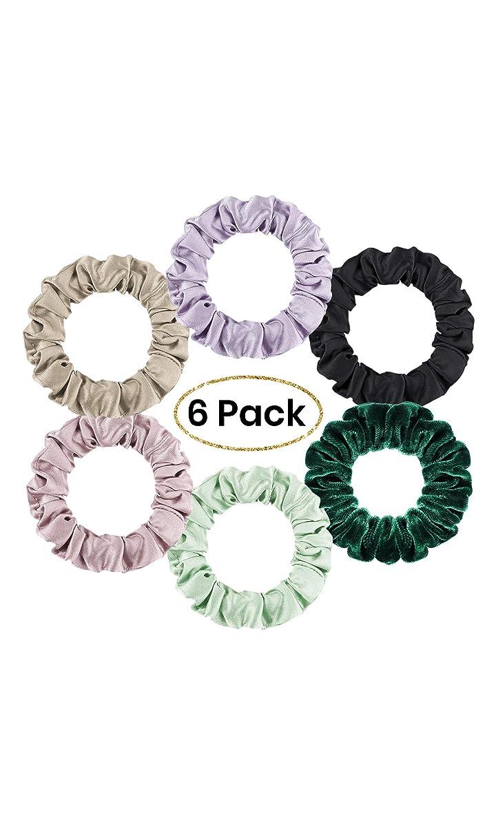 LilySilk 6pack Silk Scrunchies Small for Women- Colorful Hair Bow Ties- Girls- Unique Bobble Elastics Hair Scrunchy- Soft Cute