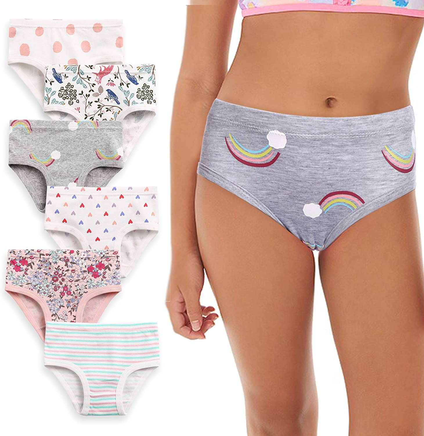 Girls in panties picts Amazon Com Arshiner Girls Soft Cotton Underwear Toddler Panties Kids Briefs 6 Pack 5 6 Years Clothing Shoes Jewelry