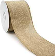 CT CRAFT LLC Plain Faux Jute Burlap Wired Ribbon for Gift Wrapping, Crafting, Decoration and DIY Projects (2.5 inch x 10 Y...