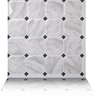 Tic Tac Tiles 10-Sheet Peel and Stick Self Adhesive Removable Stick On Kitchen Backsplash Bathroom 3D Wall Sticker Wallpaper Tiles in Marmo White
