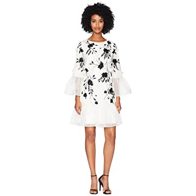 Marchesa Notte 3/4 Sleeve All Over Beaded Tunic w/ 3D Flowers and Organza Ruffles (Ivory) Women