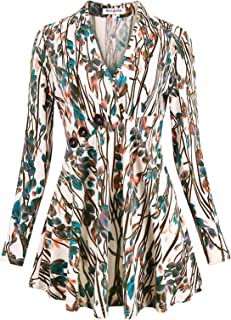 Becanbe Women's Long Sleeve V Neck Empire Line Tunic Top